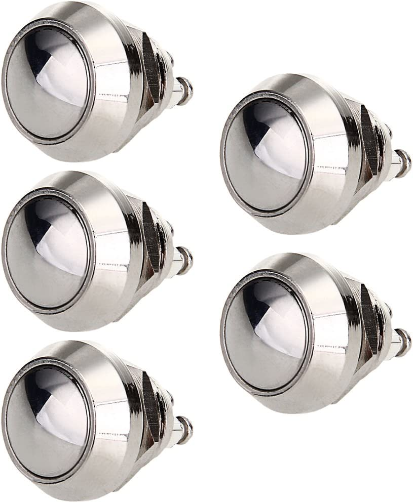 ESUPPORT Car 16mm Raised Top Momentary Stainless Metal Push Button Switch Pack of 5