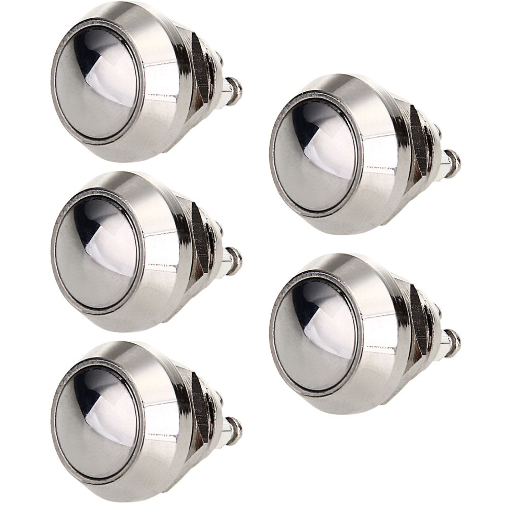 E Support™ Car 16mm Raised Top Momentary Stainless Metal Push Button Switch Pack of 5 CXCP15A