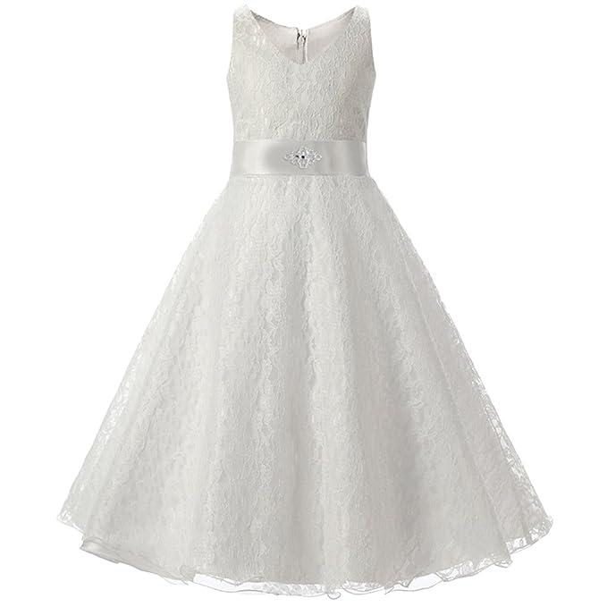 LSERVER Vestido de Niñas y Princesas de Encaje Para Fiestas Blanco 2-3 Años