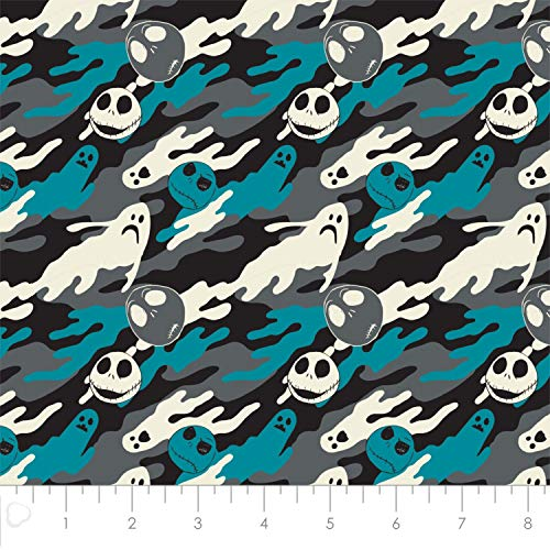 (Disney The Nightmare Before Christmas Jack is Back Ghostly in Blue Cotton Fabric by The)