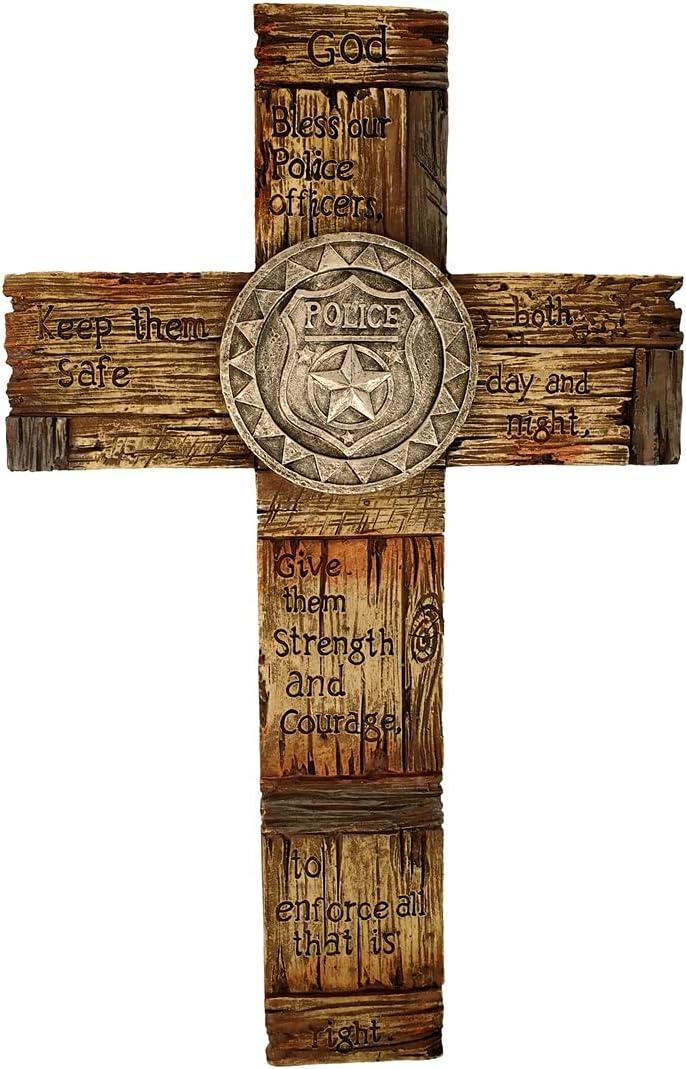 TG,LLC Treasure Gurus God Bless Our Police Officers Christian Cross Badge Rustic Religious Wall Art Home Decor