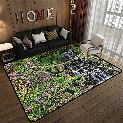 Indoor Outdoor Rugs,Japanese Decor Collection,Waterfalls Over Cracked Rocks Stones Flowing Down to The River Peaceful Mother Earth Theme,MUL 78.7