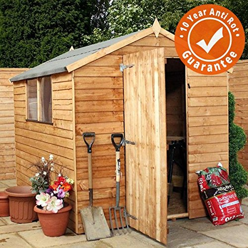 8 x 6 Overlap Apex Wooden Garden Shed – Single Door & Felt Included – By Waltons