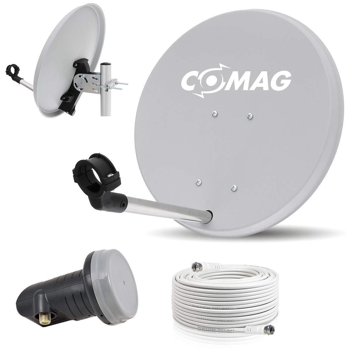 Digitale Camping Sat Anlage Spiegel 40 cm Single LNB 0, 1 dB + Koaxialkabel 10m Kabel Balkon Caravan Mobil Schü ssel Antenne OPTICUM fü r HDTV HD Sky 3D 4K geeignet visiamo