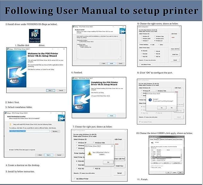 MUNBYN Impresora de Recibos Térmica 80mm Tickets Térmica Directa, Tiketera Portátil de la Caja Registradora con USB