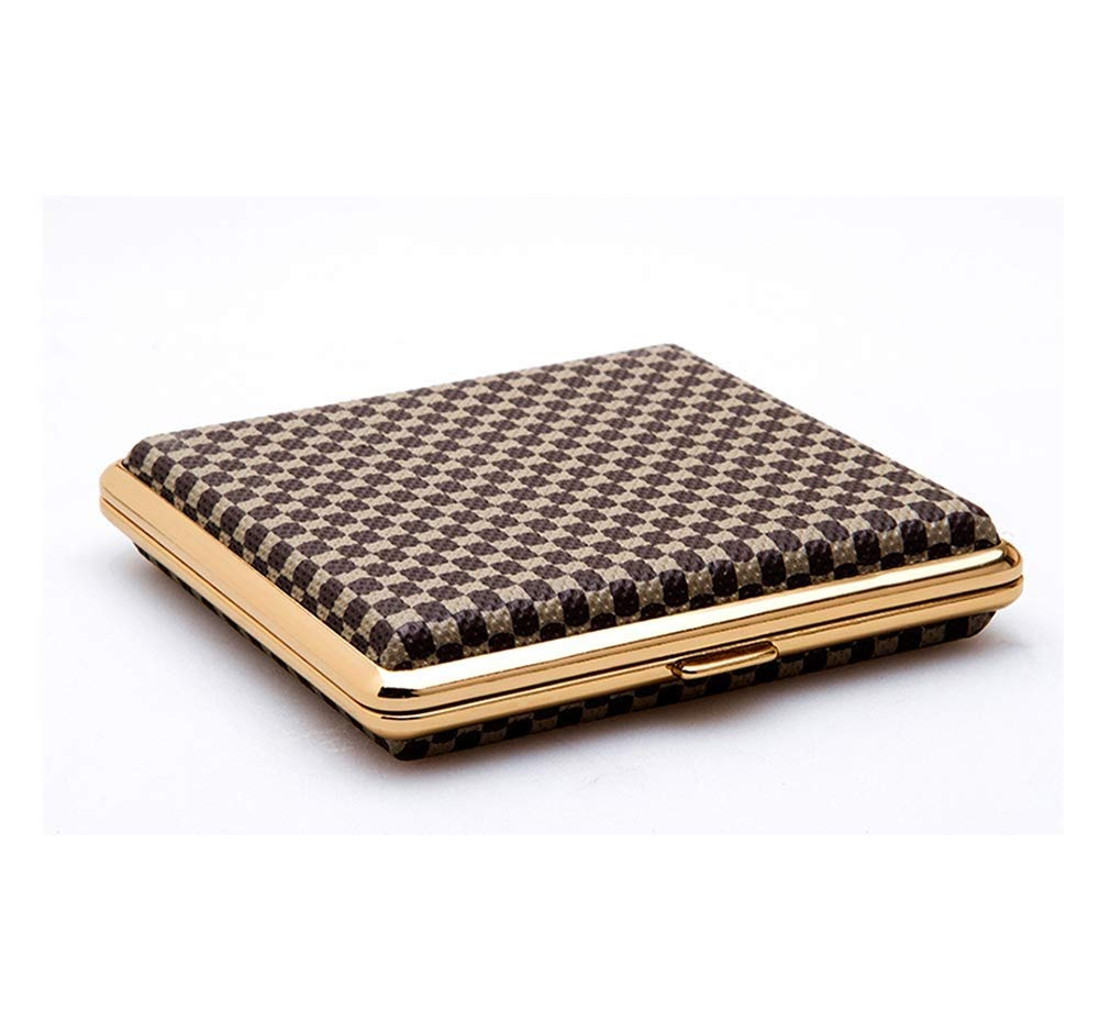 Lcxligang Men's Cigarette Case, Double-Sided Leather Pattern Ultra-Thin Cigarette Case Phnom Penh Can Hold 20 Cigarettes