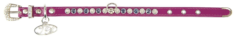 Trilly Tutti Brilli Lea Hund Halsband mit Swarovski-Nieten, 40x 2cm, lila Patent