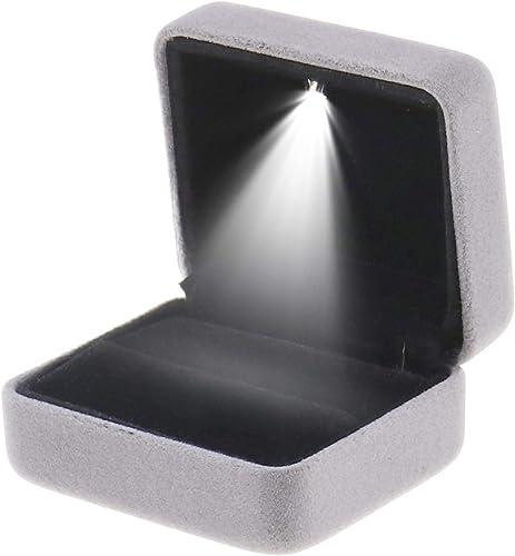Grau Ringschachtel Hochzeit LED-Licht Ringschachtel Verlobung Samt LED Ring Box