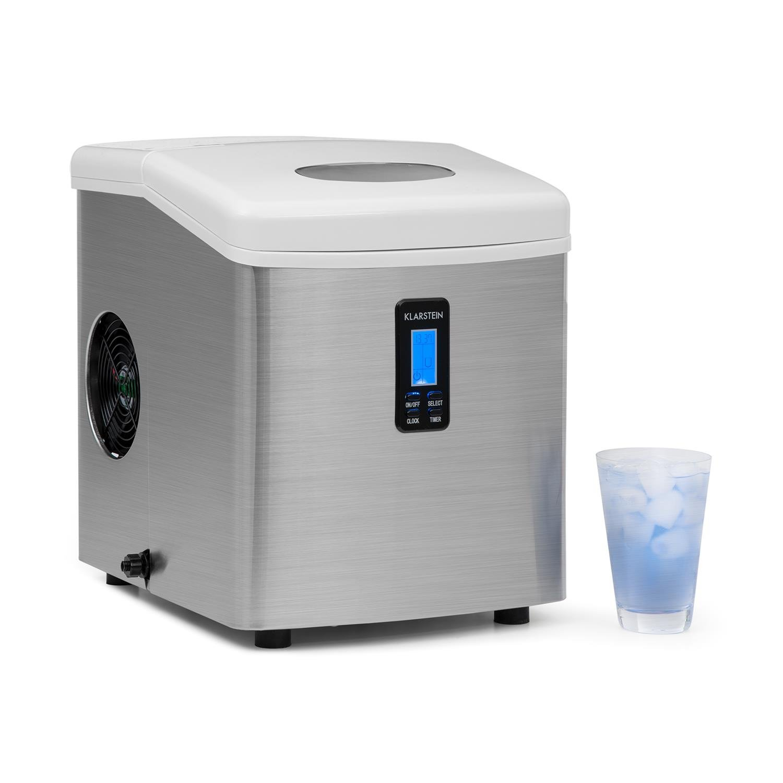Klarstein Mr. Silver-Frost • machine à glace • glaçons • 15 kg/24 h • 150 w • 3 tailles • 6-15 mn • réservoir 3,3 l • minuterie • heure • écran LCD • fenêtre de contrôle • discret • inox • blanc