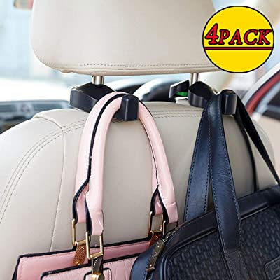 Madeggs 4 Pack Car Headrest Hook Back Seat Hanger for Purse Handbags Shopping Bags and More Items(Black): Automotive