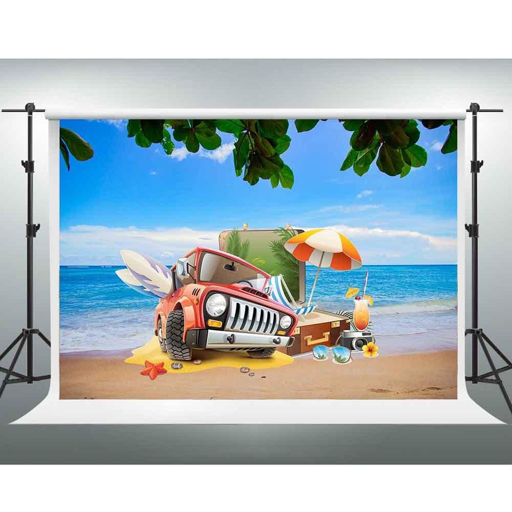 Gesen夏ビーチバックドロップ10 x 7ftブルーオーシャンハワイアントラベルストーリー写真背景のテーマパーティーStudioをチューブ背景写真ブース小道具lxge284   B07FY4WZKV