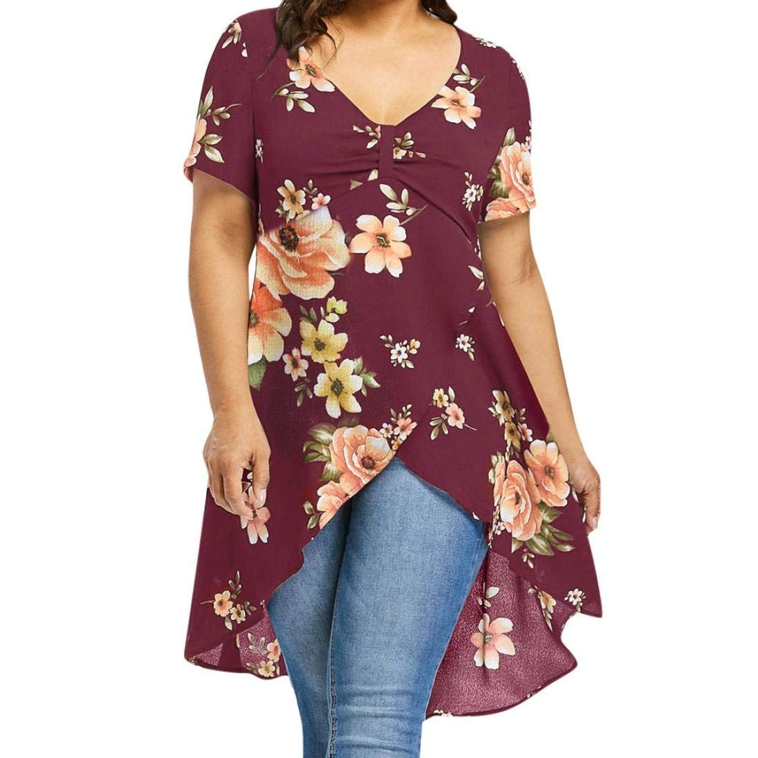 a1b642ebe1b64 Lelili Women Tunic Tops Plus Size Sexy Floral Print Short Sleeve V Neck  Ruched Cross Irregular Long Shirt Casual Blouse at Amazon Women s Clothing  store