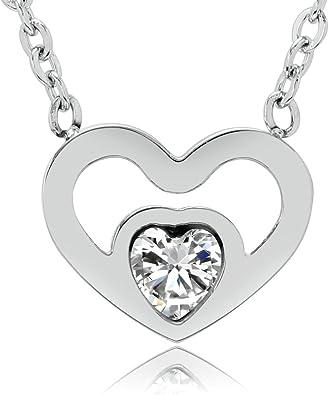 Collier Fantaisie Argenté Necklace Coeur Ciselé Heart Chic Mode Femme Fille Mode