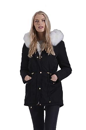 Womens Winter Black White Faux Fur Lining Hooded Zipped Warm Coat  Jacket Black 12 86cf55b21