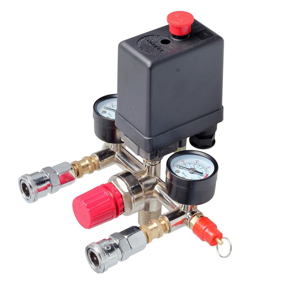 RUNGAO Air Compressor Pressure Control Switch Valve Manifold Regulator w/Gauges Relief #1