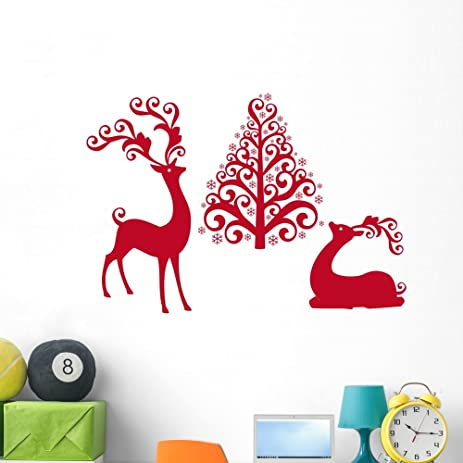 Reindeer With Christmas Tree Wall Decal By Wallmonkeys Peel And Stick  Graphic (48 In W