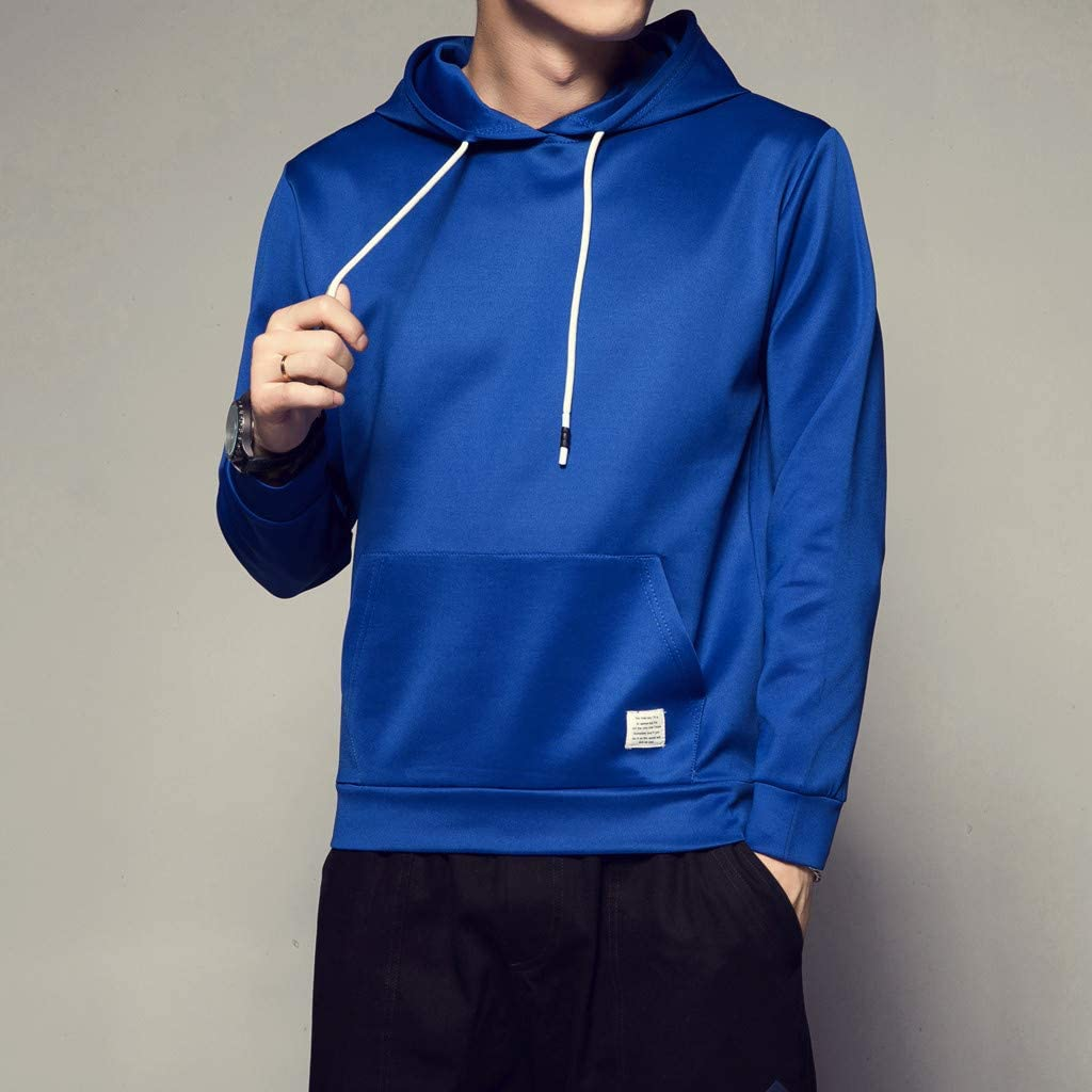 Mens Crewneck Fleece Hoodie Pullover Sweatshirt Slim-fit Long Sleeve Outwear Tops with Pockets Blue