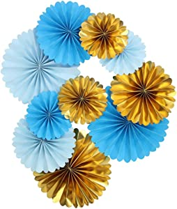 Mybbshower Blue Ivory Gold Paper Pinwheel Living Room Wall Decor for Boy Birthday Party Baby Bridal Shower Backdrops Pack of 10