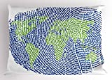 Ambesonne World Map Pillow Sham, Map of The World Fingerprint Style Continents Asia Europe Africa America, Decorative Standard Queen Size Printed Pillowcase, 30 X 20 inches, Navy Blue Green
