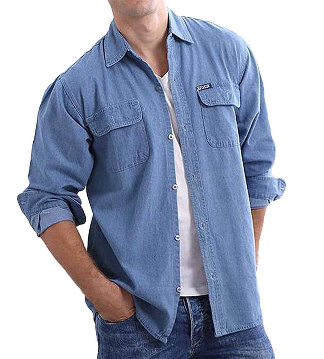 BU2H Men Basic Long Sleeve with Pockets Button Front Slim Denim Western Shirt