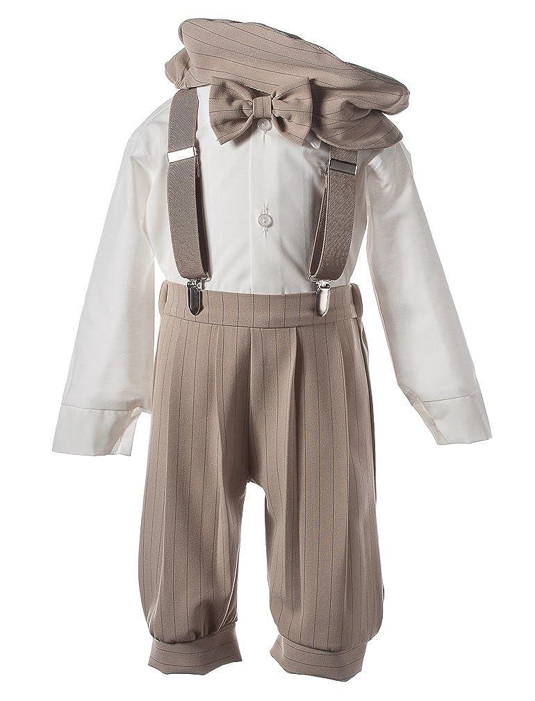 Vintage Tan Stripe TGBTKSUSP1 Boys Toddler Knicker Set with Suspenders and Hat