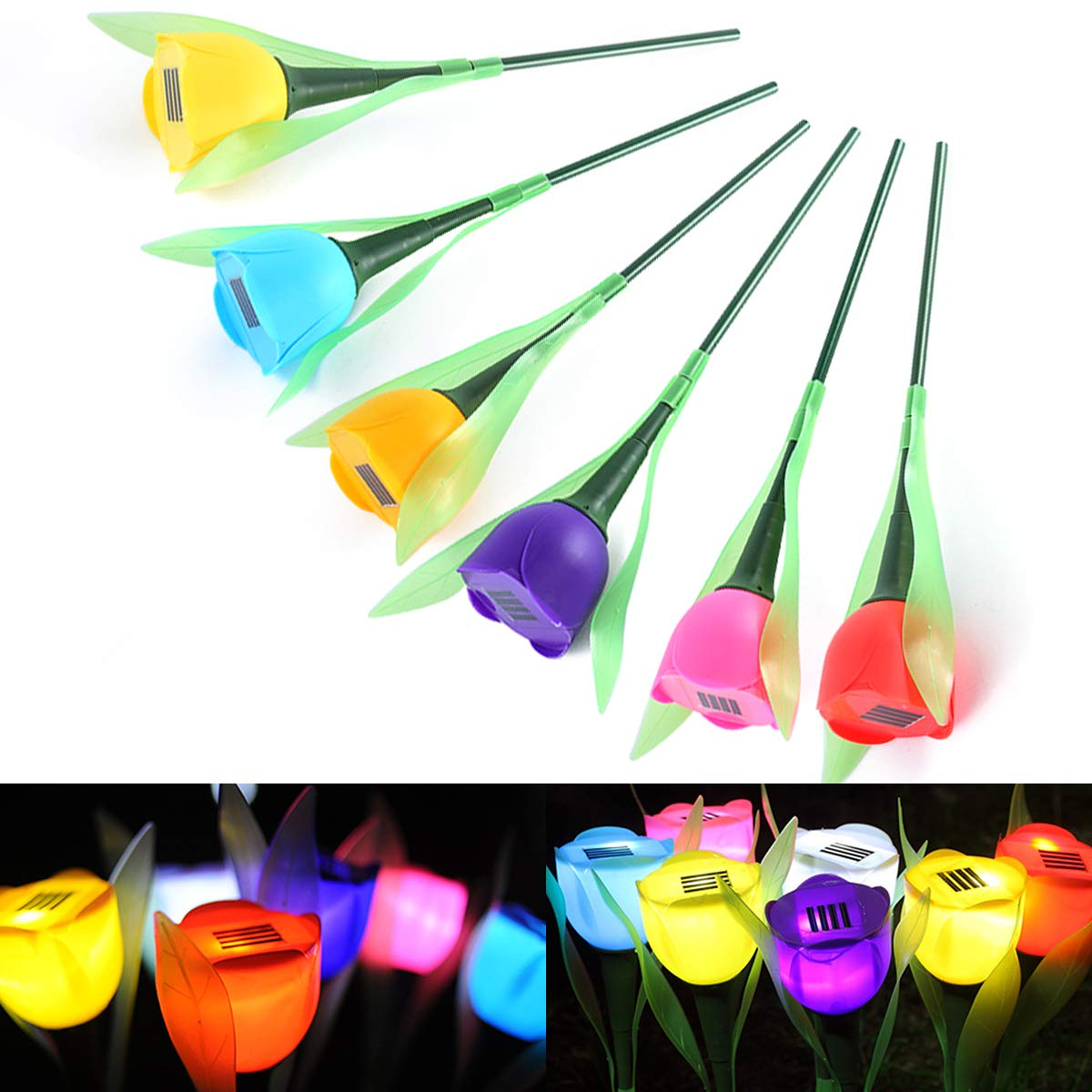 Xingny Garden Tulip Flower Shape LED Solar Powered Light Outdoor Yard Decor Stake Light