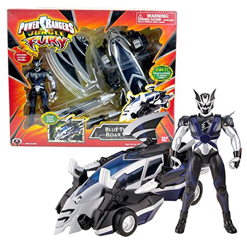 Bandai Year 2007 Power Rangers Jungle Fury Series 8 Inch Long Vehicle Set - BLUE THUNDER ROAR VEHICLE that Morph to Animal Zord Plus Bat Ranger (Power Ranger Jungle Fury Zords)