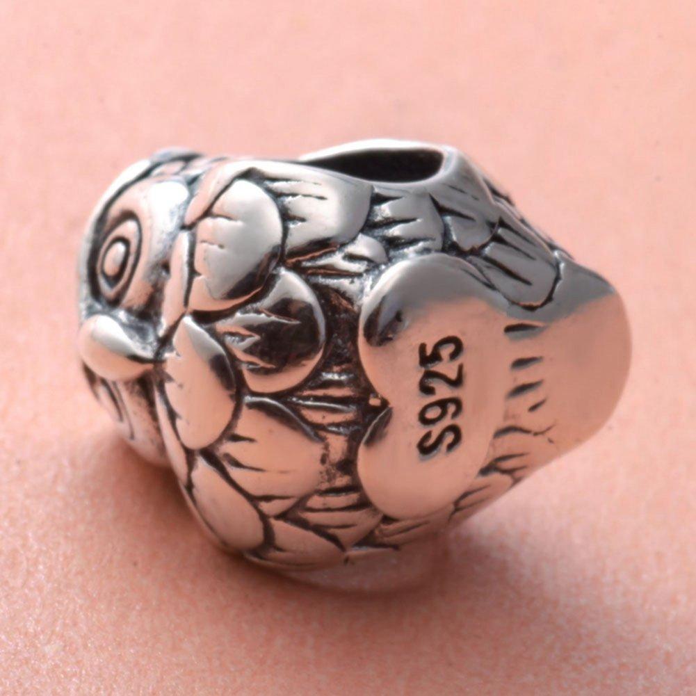 Soulbead Ciondolo a forma di gufo portafortuna in vero argento Sterling 925 per bracciali e gioielli europei