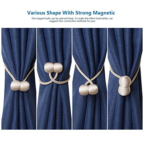Anjee Magnetic Curtain Tiebacks by (4 Pcs Pack), Creative Hand Knitting Curtain Holdbacks with Magnets for Home Décor (Grey, 2 Pairs)
