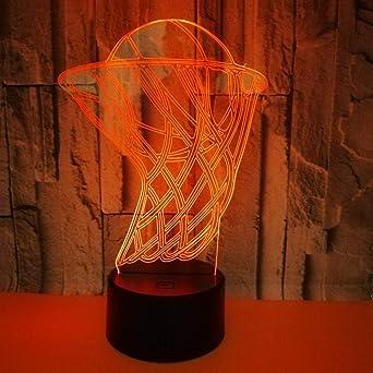 Cesta de baloncesto luces 3D lámpara de noche colorida luz de ...