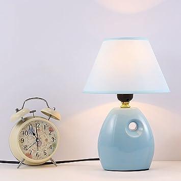 GRY Pequeña lámpara de Mesa de cerámica Azul, lámpara de ...