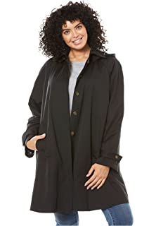 17b8d6c08be Amazon.com  Woman Within Plus Size Water-Resistant A-Line Raincoat ...