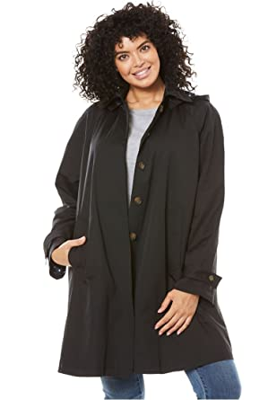 400c0e35a77 Amazon.com  Woman Within Plus Size Hooded A-Line Raincoat - Black ...