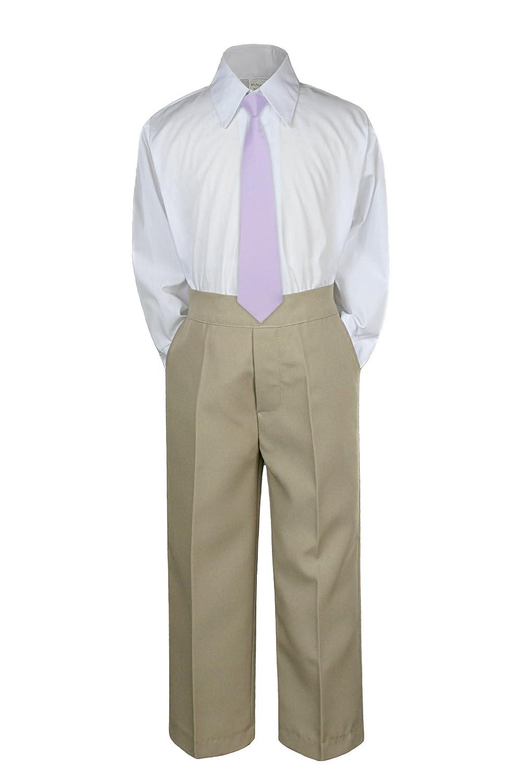 3pc Formal Baby Teens Boys Lilac Necktie Khaki Pants Sets Suits S-14 7