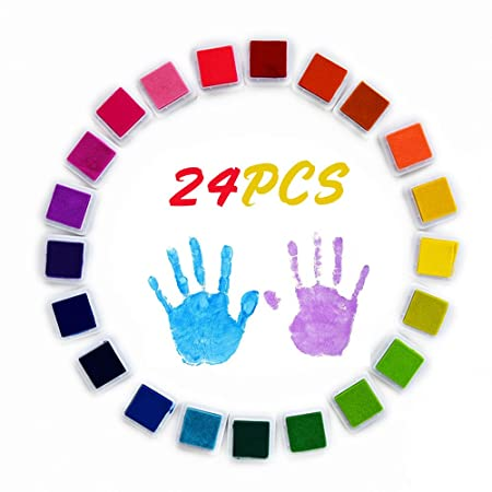 Craft Stamps Ink Pads 15 Colors,Non-Toxic Finger Stamp,Ink Pads Rubbers Stamps for Child Palm Finger Painting Use with Any Rubber Art