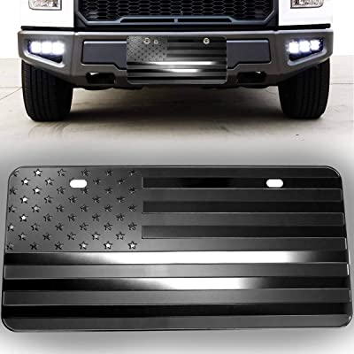 VaygWay USA American Flag Plate – Monochrome Flag License Plate Cover – Embossed Flag Front License Plate – Decorative Patriotic American Flag Plate: Automotive