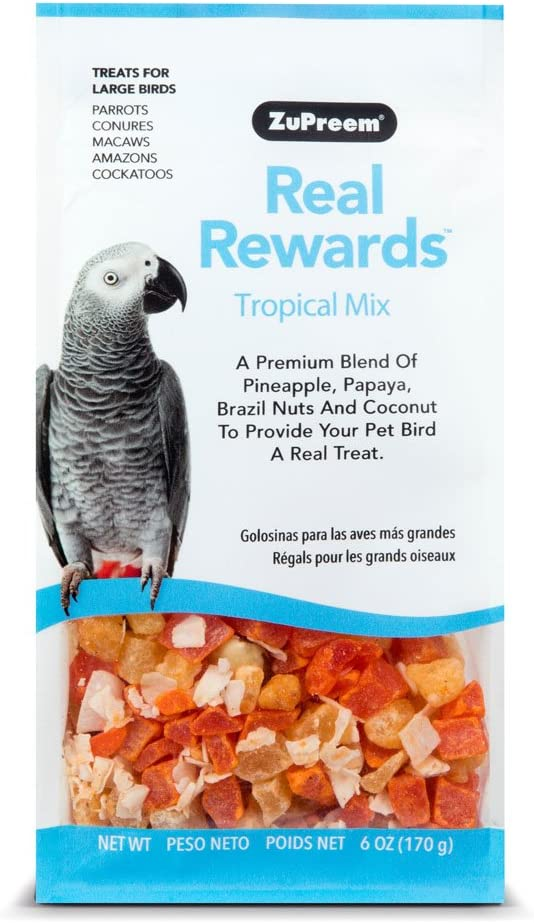 ZuPreem Tropical Mix Real Rewards Treat Blend, 6 Ounces, for Parrots Conures Macaws Amazons and Cockatoos