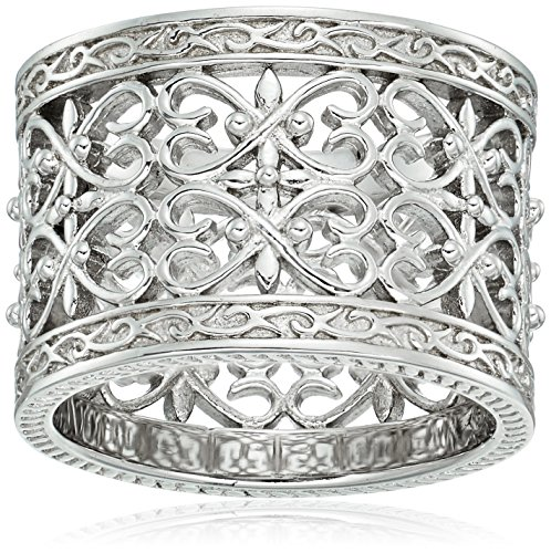 Sterling Silver Double Row Pave Hearts Antique Milgrain Infinity Band Ring, Size (Sterling Silver Double Heart Ring)