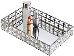 Hipiwe Mirrored Crystal Vanity Makeup Tray, Sparkly Bling Jewelry Trinket Tray, Rectangle Perfume Tray Cosmetic Display Organizer Dresser Tray Bathroom Tray for Home Decor