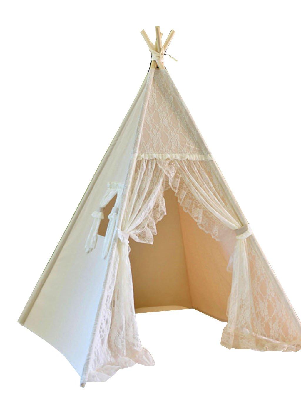 Spitzenzelt, Schlafzimmer Jungen und Mädchen Kinderzimmer Spielzeug Zimmer Indoor Baby Tuch Kunst Massivholz Spielhaus 120  165 cm