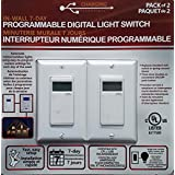 Charging Essentials In Wall 7 Day Programmable Digital Light Switch 2 Pack