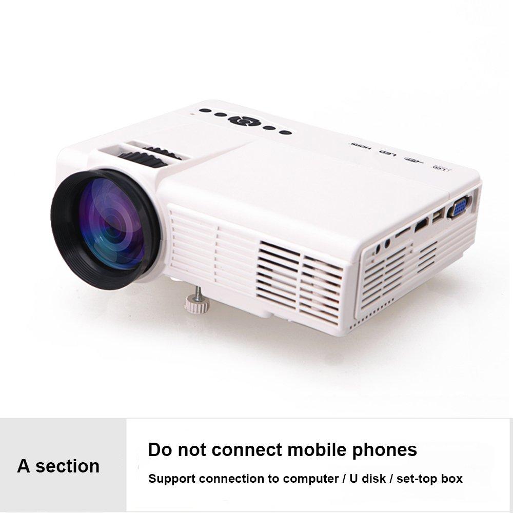 プロジェクター家庭用ミニHD家庭ポータブルプロジェクター電話ワイヤレスWiFiシアター ( Color : 白, Edition : A ) B07DG4P2J2