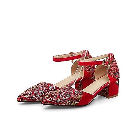 Chino - Zapatos Bordados de Boda roja con Zapatos Gruesos con Zapatos de Novia - Zapatos
