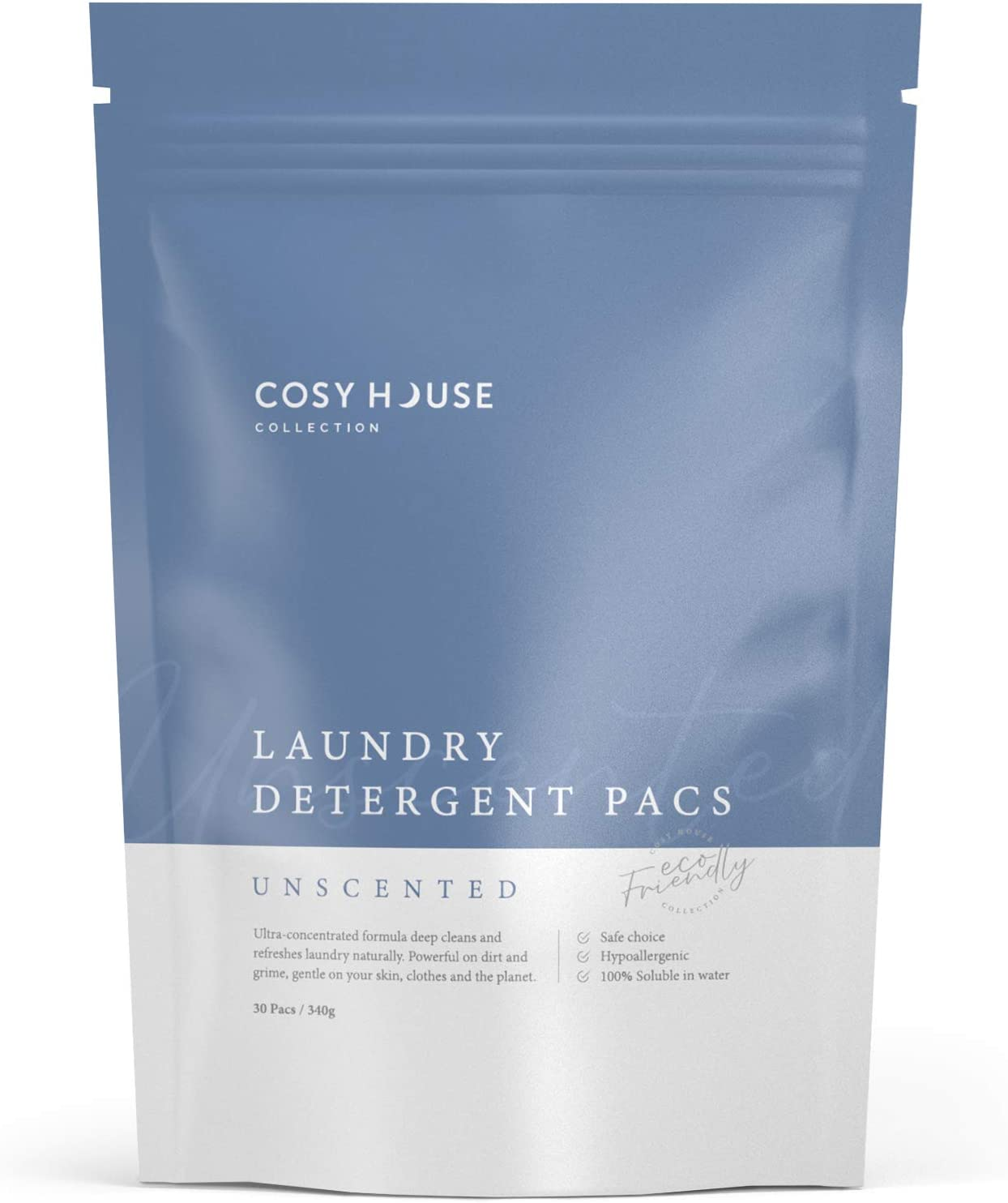 Cosy House Collection Laundry Detergent Pacs - Scent & Dye Free - Non-Irritating Formula - Suitable for all Machine & Fabric types - (Unscented, 30 Count)