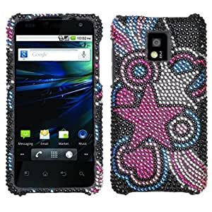 Pink Blue Star Circle Bling Gem Jeweled Crystal Cover Case for LG G2X P999 B51M