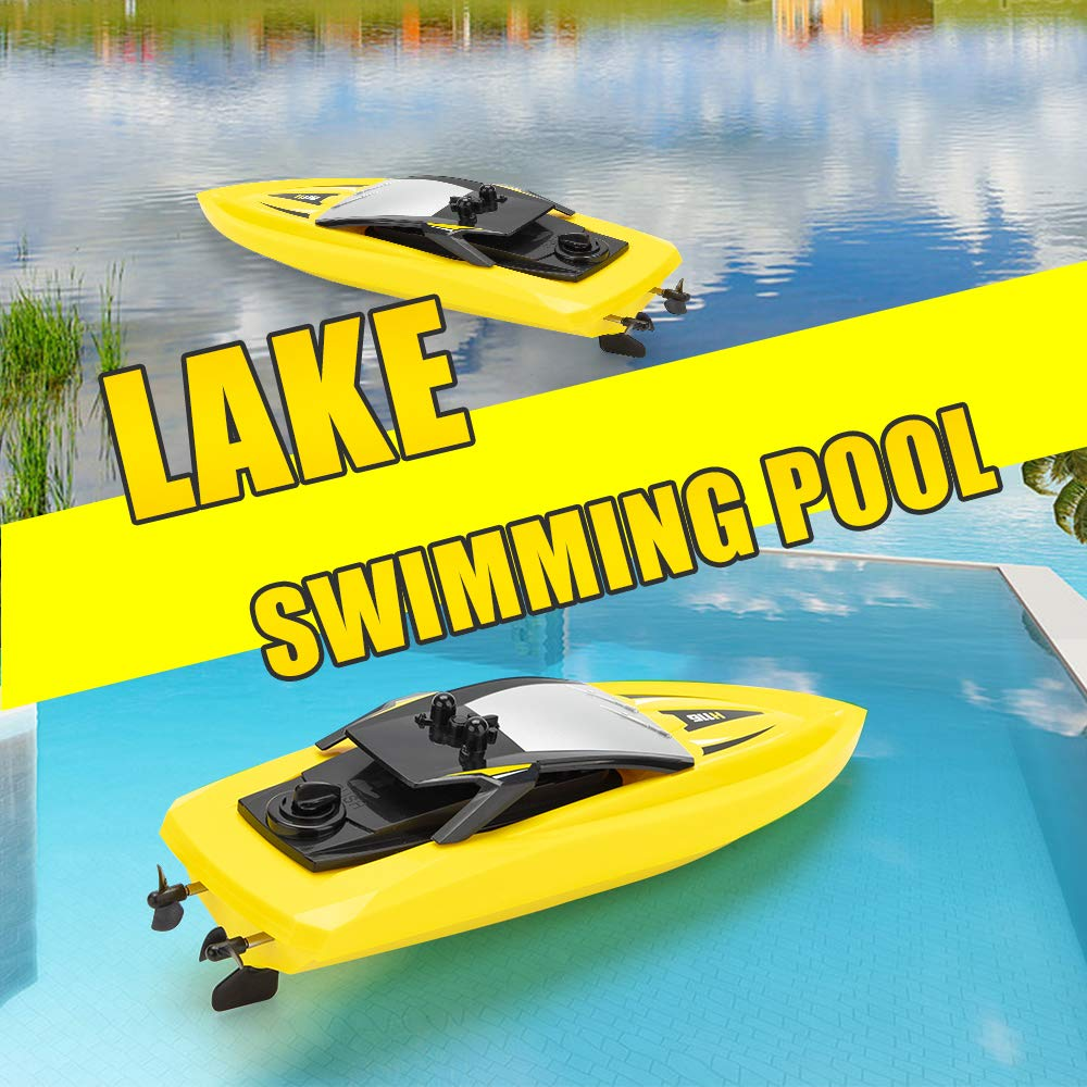RC Boat Remote Control Boats for Pools and Lakes, ROTOBAND H116 14km/h Self Righting High Speed Boat Toys for Kids Adults Boys Girls(Yellow) by ROTOBAND (Image #3)