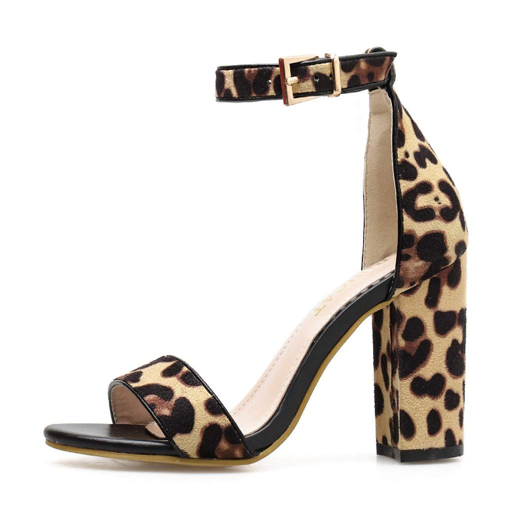 Women Peep Toe Leopard Thick Heel Sandals Buckle Strap Square Heel Shoes (Brown, US:5)