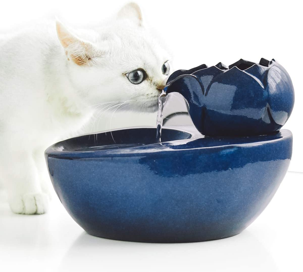 Aolnv Lotus Cat Water Fountain, Automatic Ceramic Drinking Fountain for Pets,Easy to Clean, 50.8 oz. Water Capacity (Blue)