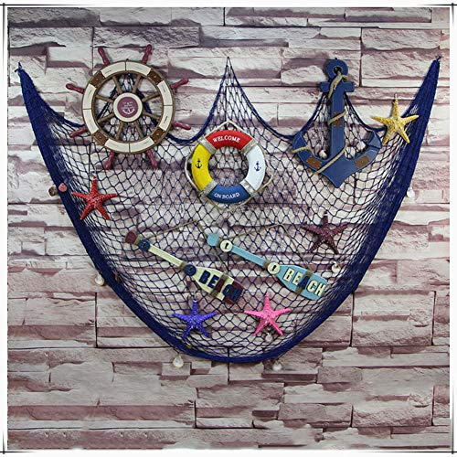 (IRKZ Large Nautical Beach Fishing Net Decoration Wall Decor with Sea Shells Mediterranean Style for Party Room)