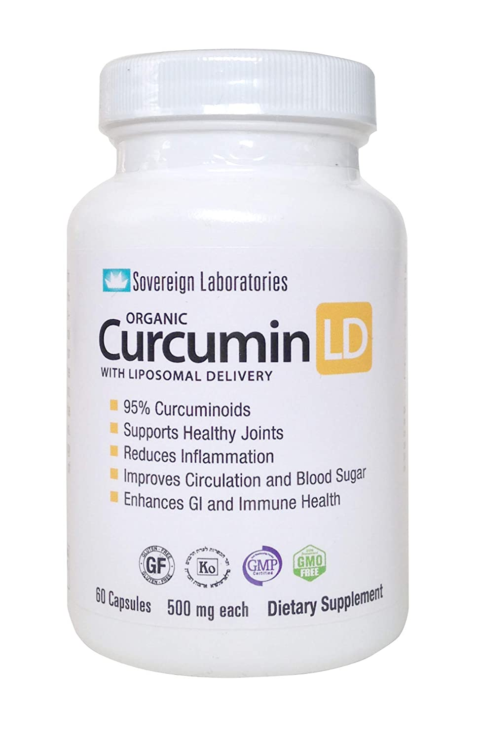 Organic Curcumin-LD – 95 Curcumonoids 60pc 500mg Capsules with Proprietary Liposolmal For 4x More Bioactive Absorption. Non GMO Veggie Caps. Supports Healthy Joints, Anti Inflammatory, Bioperine Free
